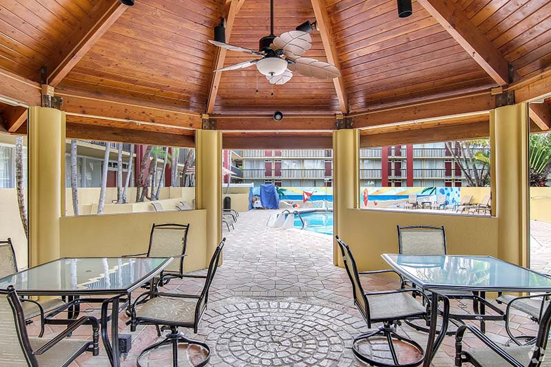 Cabana building and pool.