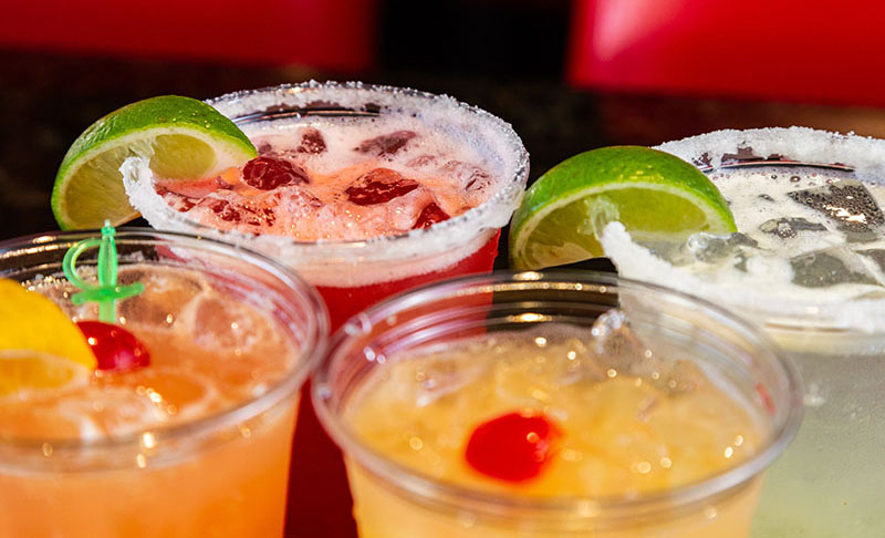 Close up of margaritas and cocktails.